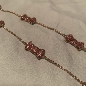 Kate Spade Take a Bow Necklace Glitter Pink